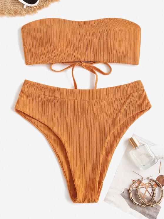 ZAFUL Textured Ribbed Lace-up Bandeau Bikini Swimwear - اصفر غامق S
