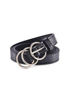 Cintura Floreale Con Fibbia Rotonda In PU - Nero