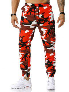 Camouflage Print Zipper Slit Cargo Pants - Red Xxl