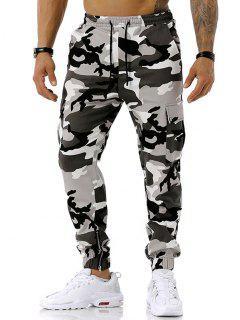 Camouflage Print Zipper Slit Cargo Pants - Gray Xxxl