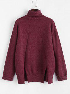 Turtleneck M-slit Drop Shoulder Cuffed Sleeve Sweater - Deep Red