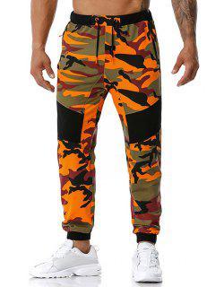 Camouflage Print Zipper Pockets Sports Pants - Orange S