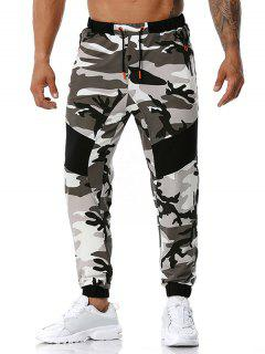 Camouflage Print Zipper Pockets Sports Pants - Gray Xl