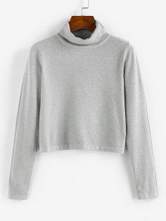 ZAFUL Turtleneck Plain Crop Knitwear - Light Gray M