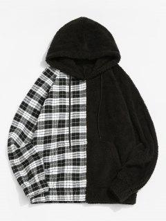 Raglan Sleeve Contrast Plaid Fluffy Hoodie - Black S