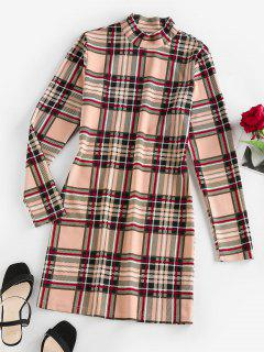 ZAFUL Plaid Mock Neck Mini Bodycon Dress - Light Coffee M