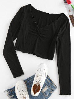 ZAFUL Lettuce Trim Ruched Cropped T Shirt - Black S