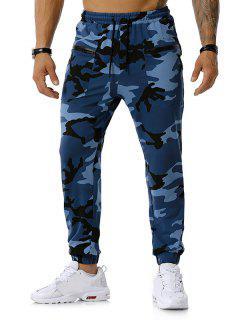 Zipper Pockets Camouflage Print Jogger Sports Pants - Denim Blue L
