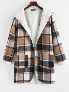 Open Front Pockets Plaid Faux Shearling Coat - Coffee L