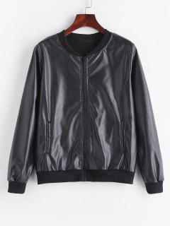 Fleece Lined Faux Leather Zip Jacket - Black S