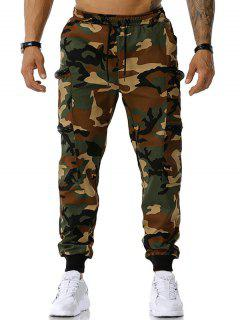 Camouflage Print Zipper Pockets Cargo Pants - Army Green Xl