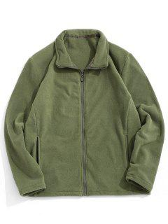 Zip Up Turndown Collar Polar Fleece Jacket - Army Green 2xl