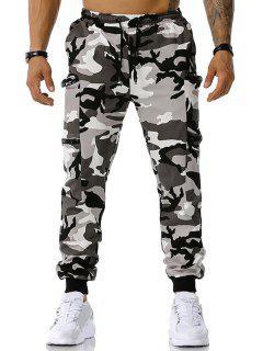 Camouflage Print Zipper Pockets Cargo Pants - Gray Xxl