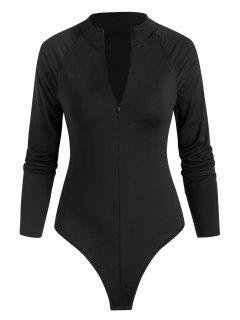 Snap Crotch Half Zip Raglan Sleeve Bodysuit - Black S