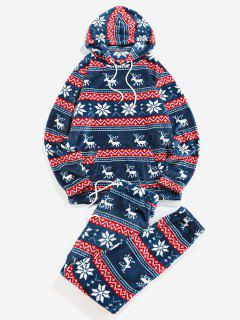 ZAFUL Christmas Snowflake Elk Pattern Fluffy Hoodie And Pants Two Piece Set - Cobalt Blue L