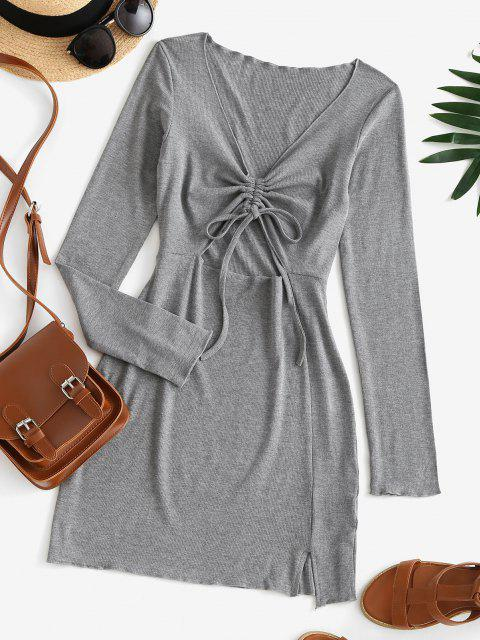 chic Cinched Cutout Bodycon Knit Long Sleeve Dress - BATTLESHIP GRAY S Mobile