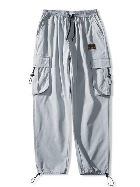 Jogger Pantalones de Cintura Elástica con Multi-bolsillo - Gris Claro L Mobile