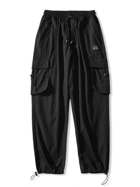 Jogger Pantalones de Cintura Elástica con Multi-bolsillo - Negro XL Mobile