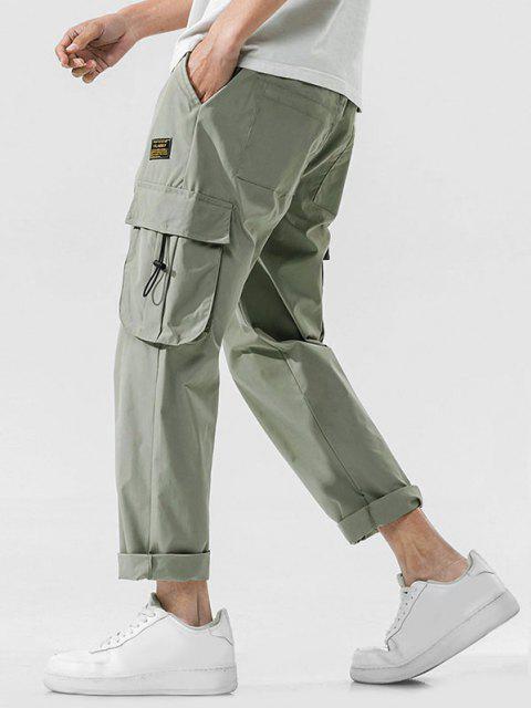 Jogger Pantalones de Cintura Elástica con Multi-bolsillo - Verde claro XL Mobile
