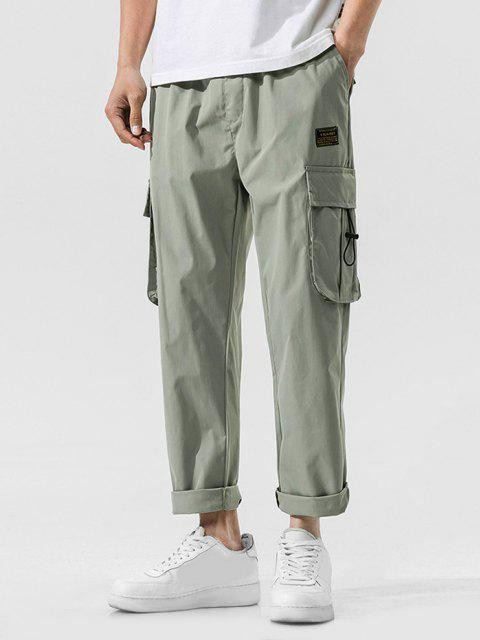 Jogger Pantalones de Cintura Elástica con Multi-bolsillo - Verde claro L Mobile