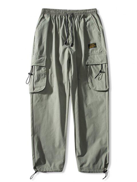 Jogger Pantalones de Cintura Elástica con Multi-bolsillo - Verde claro XS Mobile