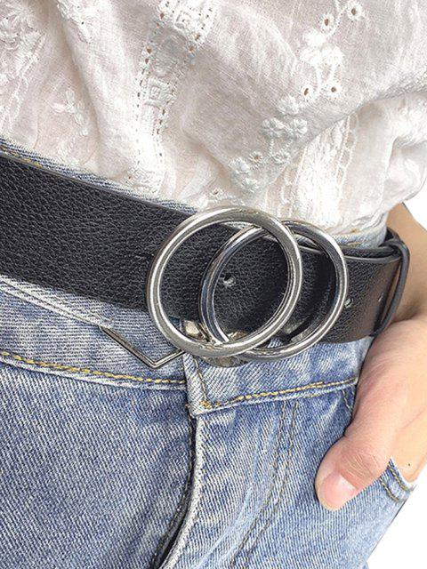 chic PU Double Round Buckle Belt - BLACK  Mobile