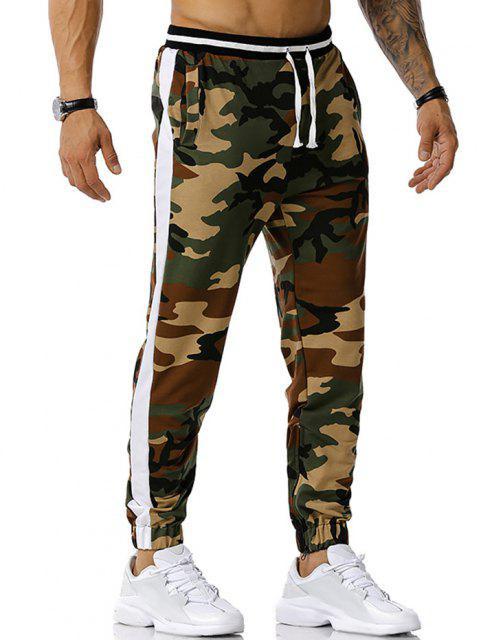 Camouflagedruck Reißverschluss Schlitz Sport Hosen - Armeegrün XL Mobile