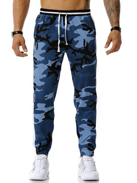 shops Camouflage Print Zipper Slit Sports Pants - JEANS BLUE L Mobile