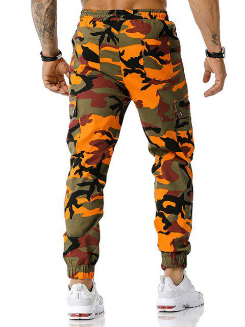 hot Camouflage Print Zipper Slit Cargo Pants - ORANGE M Mobile