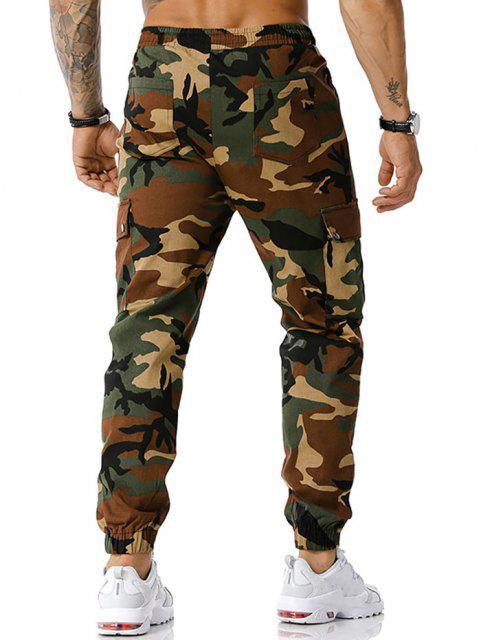 Camouflagedruck Reißverschluss Schlitz Cargo Hose - Armeegrün XXL Mobile