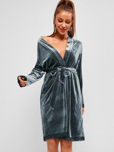 ZAFUL Robe Ceinturée en Dentelle en Velours - Bleu-gris S Mobile