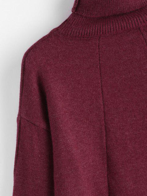 Camisola de Manga Comprida de Gola Alta e Ombro Caído Algemado - Vermelho escuro Um Tamanho Mobile
