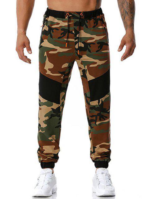 Camouflagedruck Reißverschluss Taschen Sport Hosen - Armeegrün L Mobile