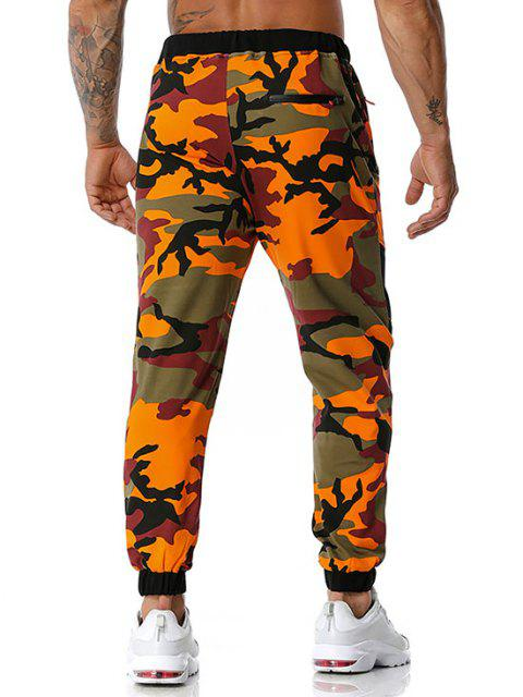 lady Camouflage Print Zipper Pockets Sports Pants - ORANGE S Mobile