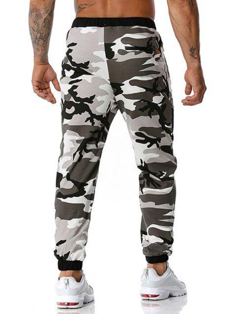 unique Camouflage Print Zipper Pockets Sports Pants - GRAY XXL Mobile