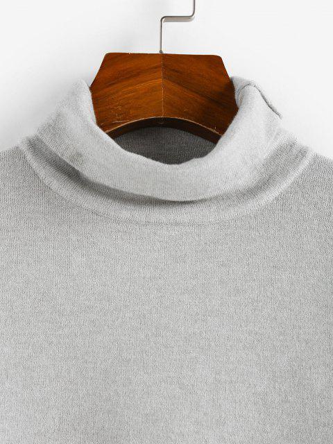 outfit ZAFUL Turtleneck Plain Crop Knitwear - LIGHT GRAY L Mobile
