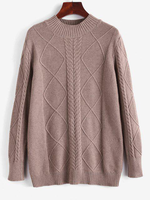 ladies Cable Knit Mock Neck Solid Jumper Sweater - COFFEE ONE SIZE Mobile