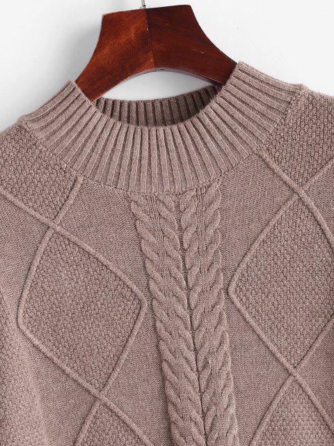 Kabel Knit Stehkragen Einfarbiger Pullover - Kaffee Eine Größe Mobile