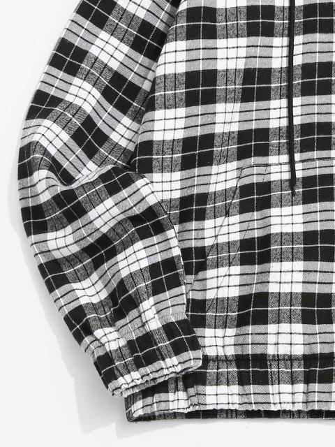 outfits Raglan Sleeve Contrast Plaid Fluffy Hoodie - BLACK 2XL Mobile
