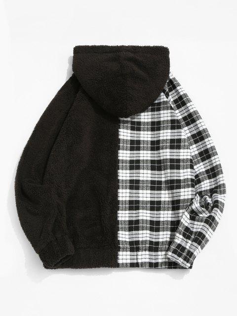 new Raglan Sleeve Contrast Plaid Fluffy Hoodie - BLACK M Mobile