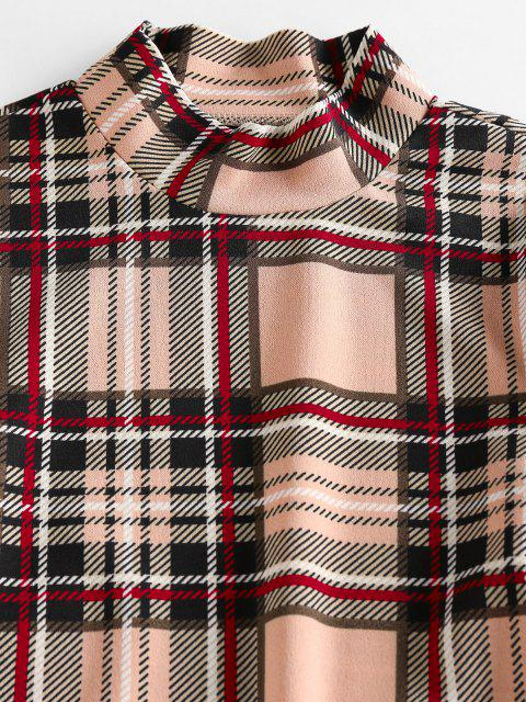buy ZAFUL Plaid Mock Neck Mini Bodycon Dress - LIGHT COFFEE L Mobile