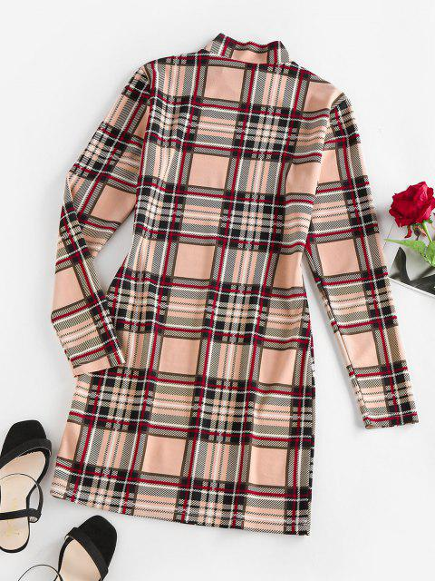 women's ZAFUL Plaid Mock Neck Mini Bodycon Dress - LIGHT COFFEE M Mobile