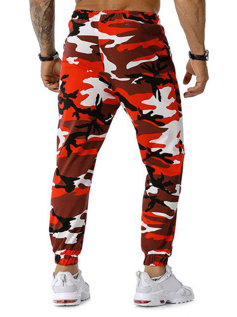 hot Zipper Pockets Camouflage Print Jogger Sports Pants - RED XXXL Mobile