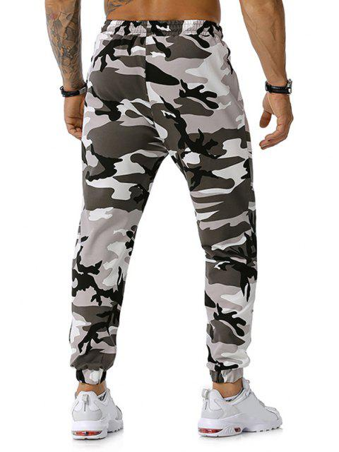 outfits Zipper Pockets Camouflage Print Jogger Sports Pants - GRAY XXL Mobile