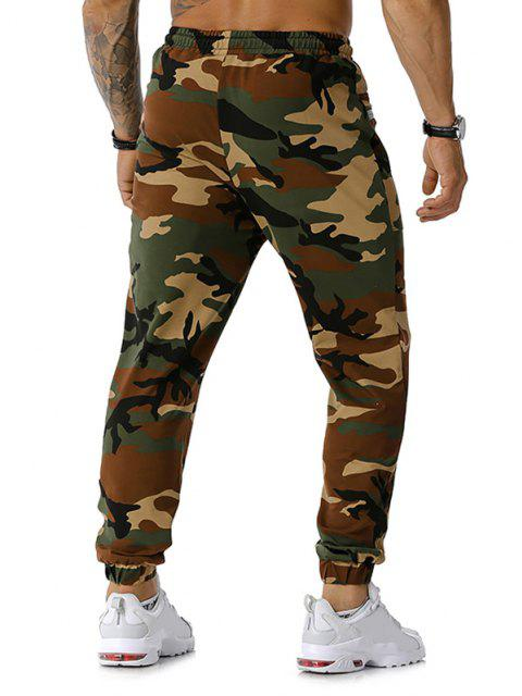 trendy Zipper Pockets Camouflage Print Jogger Sports Pants - ARMY GREEN M Mobile
