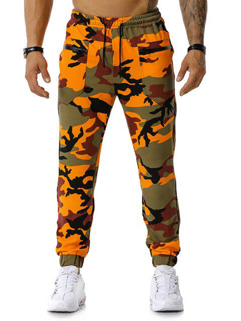 buy Zipper Pockets Camouflage Print Jogger Sports Pants - ORANGE XXL Mobile