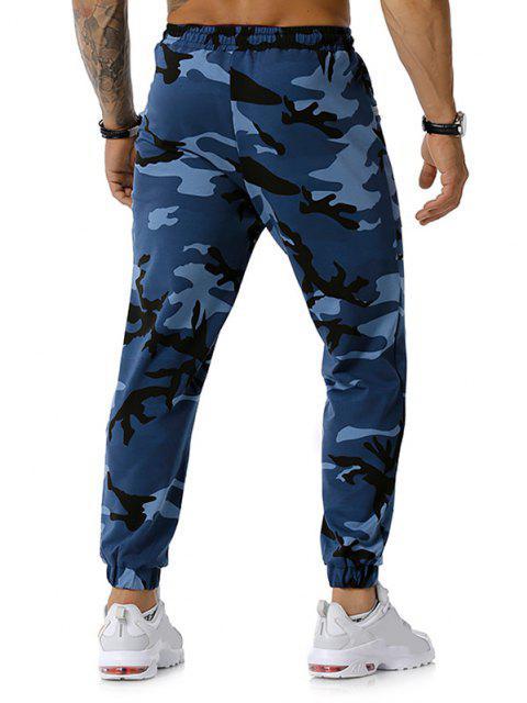 womens Zipper Pockets Camouflage Print Jogger Sports Pants - DENIM BLUE S Mobile