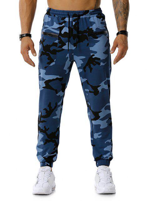 women Zipper Pockets Camouflage Print Jogger Sports Pants - DENIM BLUE XL Mobile
