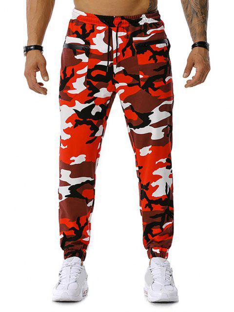Pantalones Deportivos con Cremallera y Bolsillos - Rojo M Mobile
