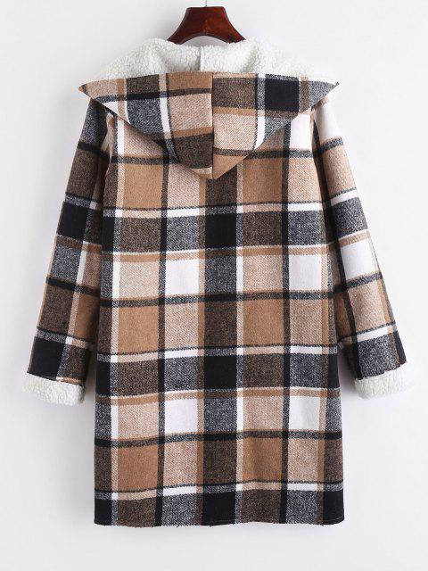 womens Open Front Pockets Plaid Faux Shearling Coat - COFFEE XL Mobile